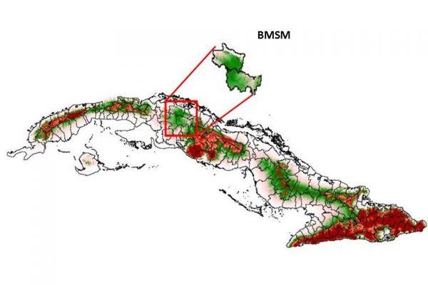 Ubicación del Bosque Modelo Sabanas de Manacas en el mapa de Cuba