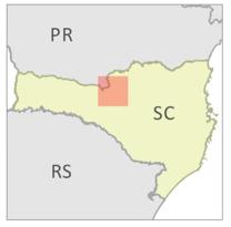 Ubicación del Bosque Modelo Caçador en el Estado de Santa Catarina