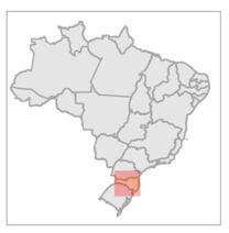 Ubicación del Bosque Modelo Caçador en Brasil