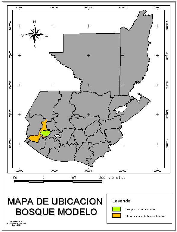 Ubicación del Bosque Modelo Los Altos en el mapa de Guatemala