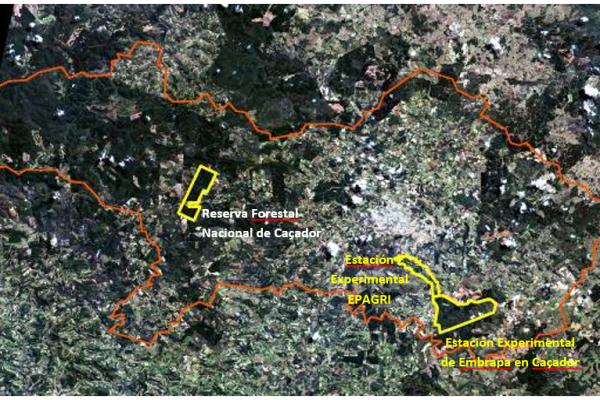 Ubicación de los núcleos del BM Caçador (Estación Experimental de Embrapa en Caçador, Estación Experimental EPAGRI y Reserva Forestal Nacional de Caçador)
